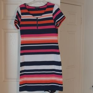 Stripped Dress- Blue, Pink, Orange and White